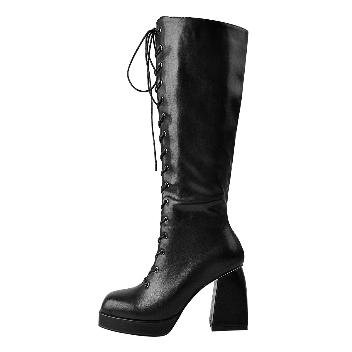 Black Patent Leather Square Chucky Heels Boots