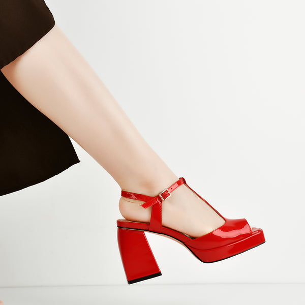 Red T-Strap Platform Square Chucky Heels Sandals