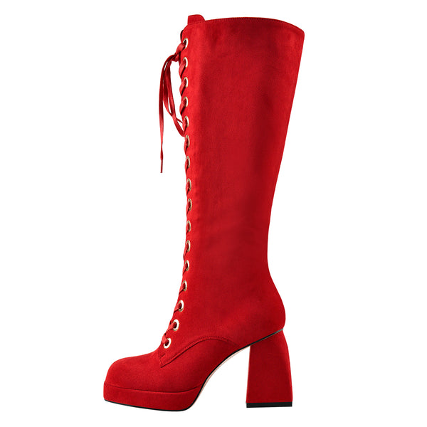 Red Suede Square Chucky Heels Over The Knee Platform Boots