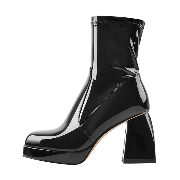Black Patent Leather Square Chucky Heels Ankle Strap Platform Boots