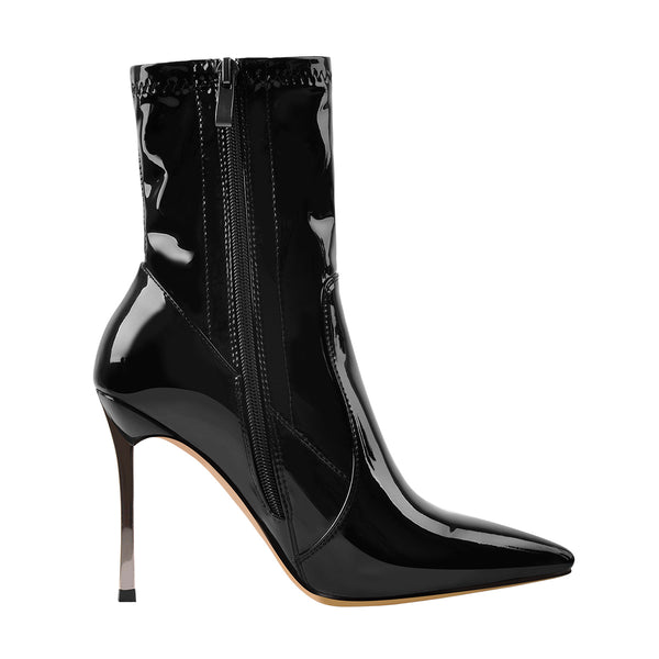 10cm Black Patent Leather Metal Heel Boots