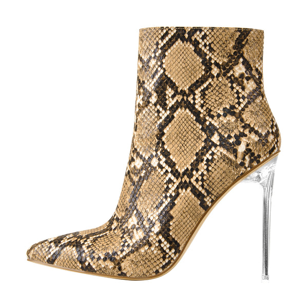 Snake Patent Leather Clear Heel Ankle Boots