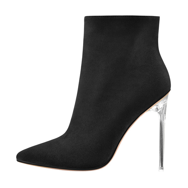 Black Suede Clear Heel Ankle Boots