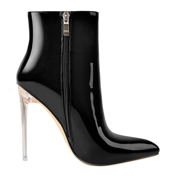 Black Patent Leather Clear Heel Ankle Boots