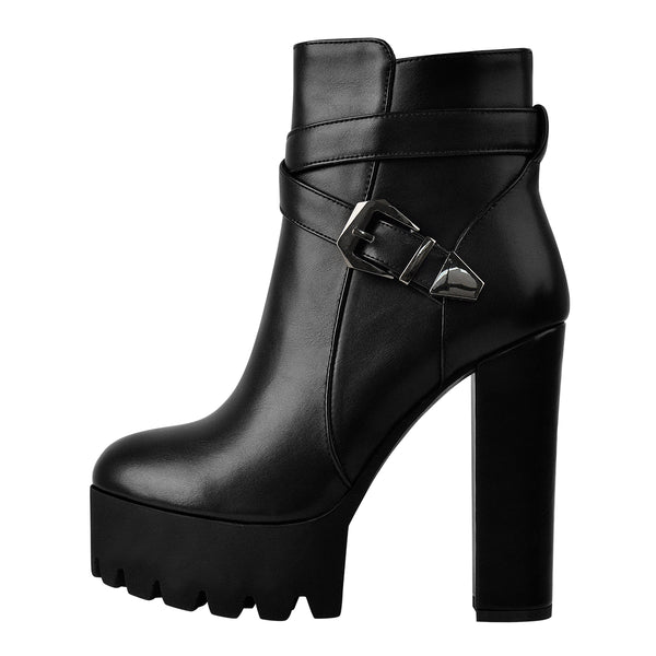 Black Platform Chunky High Heel Ankle Boots
