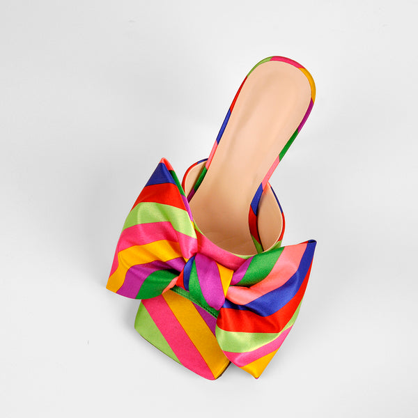 Colour Bow Leather Square Toe High Stiletto Heels Sandals
