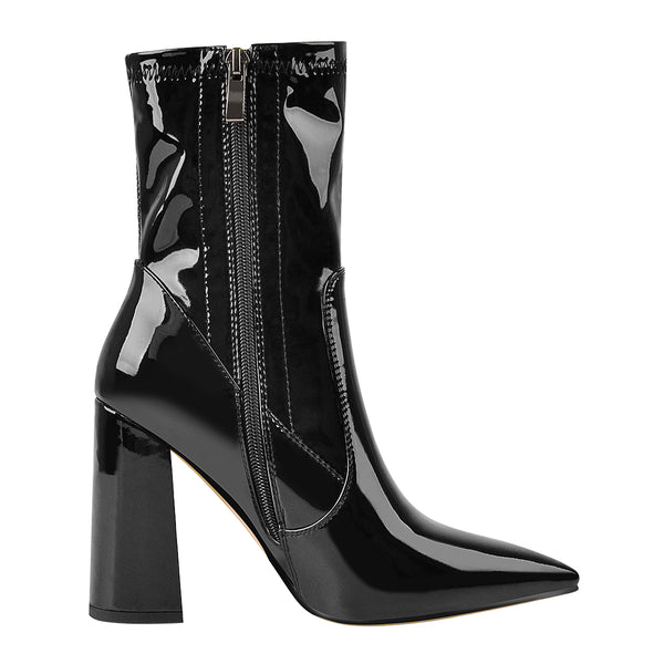 Black Pointed Toe Chunky Heels Ankle Boots