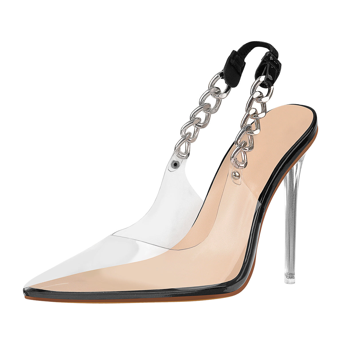 Pointed Toe Clear Metal Chain Stiletto High Heel Sandals
