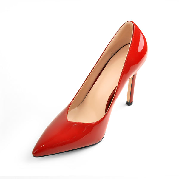 10.5cm Red Pointed Toe Patent Leather High Heels Stiletto Pumps
