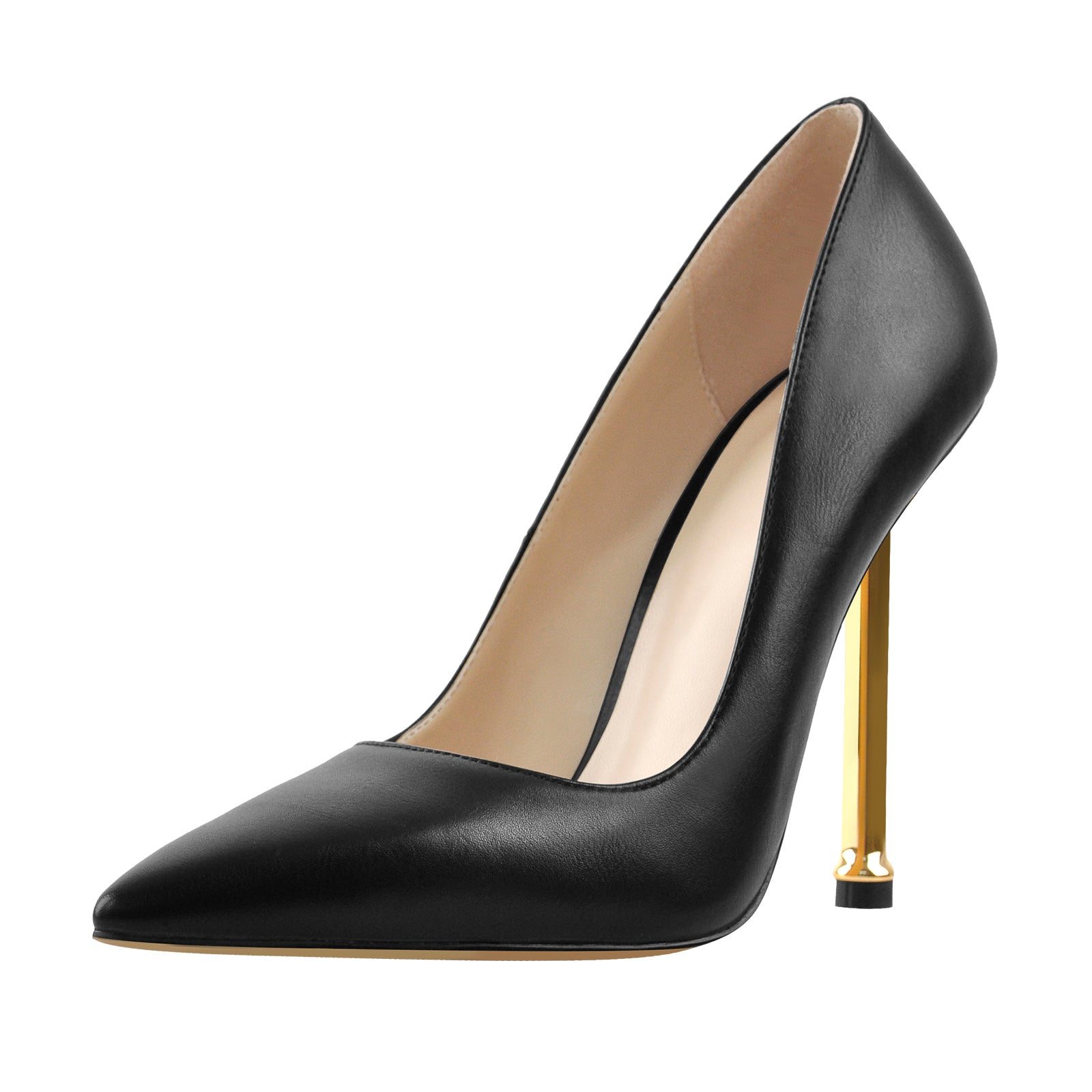 12cm Pointed Toe Matte Black High Metal Heels Stiletto Pumps