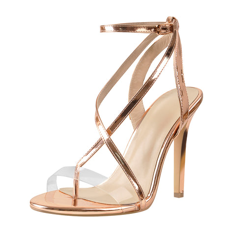 Rose Gold Patent Leather Strap High Heels Sandals
