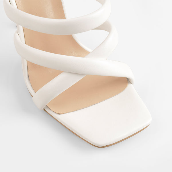 White Square Toe Matte High Heels Sandals