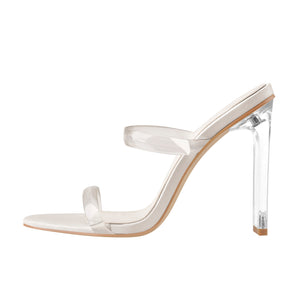 Clear Band High Heel Stiletto Sandals Mules