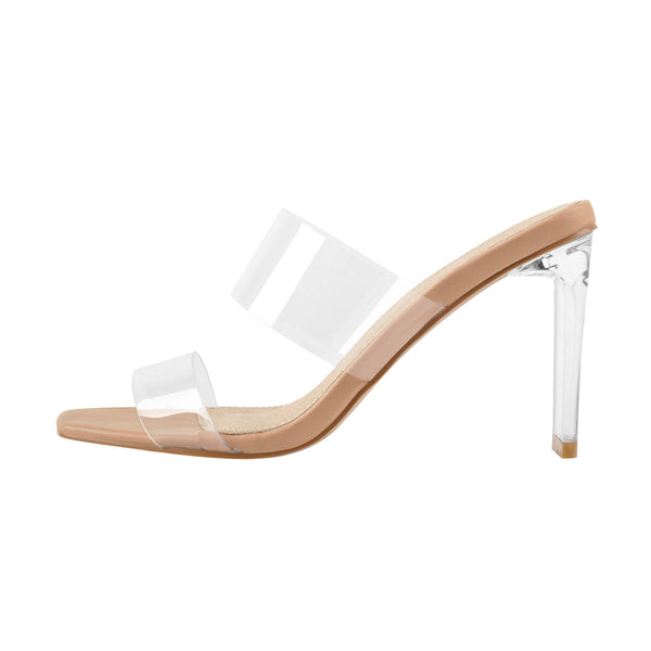 Clear Band Transparent Chunky High Heels Sandals