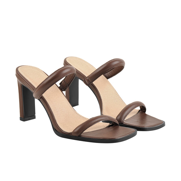 Chocolate Open Toe Chunky High Heels Sandals Mules