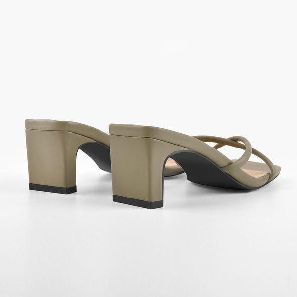 Grey Green Square Toe Cross Chunky Sandals Mules