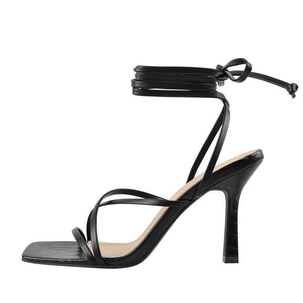 Black Strap Square Toe Stiletto Sandals