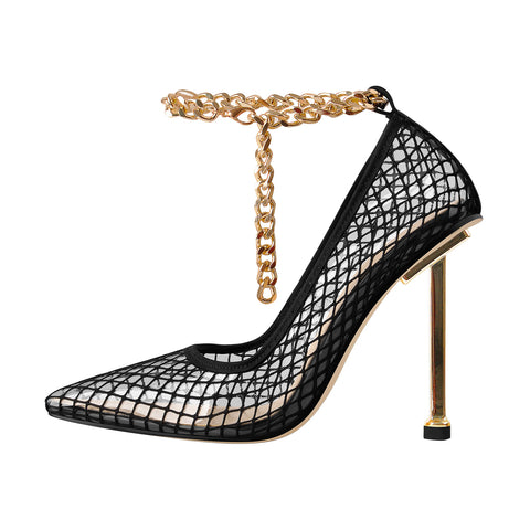Black Fishnet Pointed Toe Ankle Metal Chain Pumps
