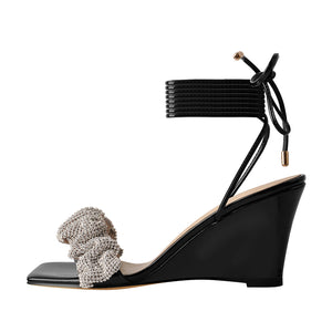 Black Strap Rhinestone Wedge Heel Sandals