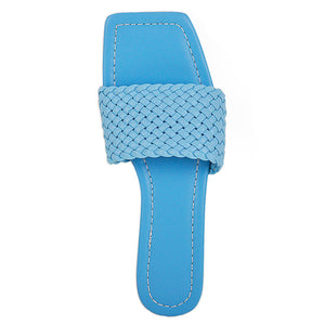 Squre Open Toe Blue Flat Sandals