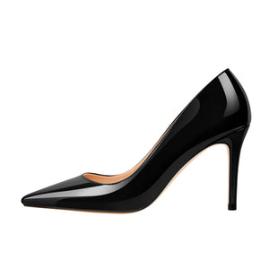 8cm Heel Patent Leather Pointed Toe High Heel Pumps