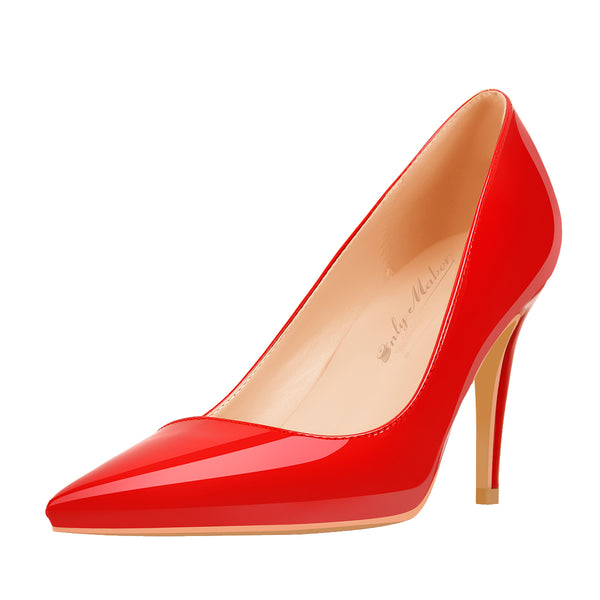 8cm Heel Patent Leather Red Pointed Toe High Heel Pumps