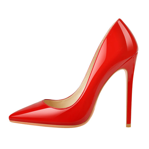 8cm 10cm 12cm Red Pointed Toe Slip On High Heel Pumps