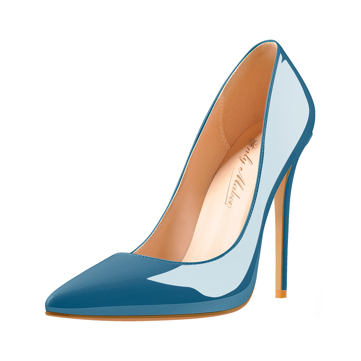 Blue Patent Leather Pointed Toe High Heel Pumps