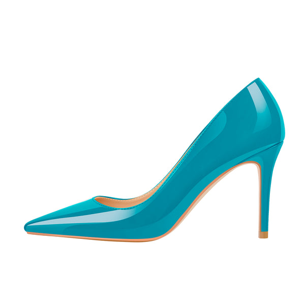 8cm Heel Patent Leather Lake Blue Pointed Toe High Heel Pumps