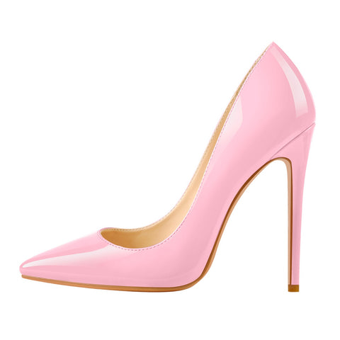 8cm 10cm 12cm Pink Pointed Toe Slip On High Heel Pumps