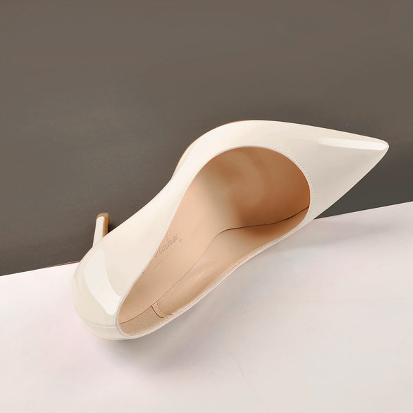 8cm Heel Patent Leather Beige Pointed Toe High Heel Pumps