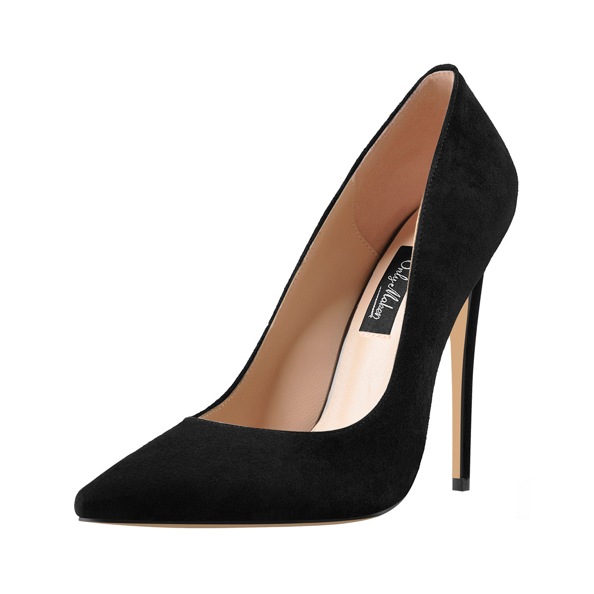 8cm 10cm 12cm Black Suede Pointed Toe Slip On High Heel Pumps