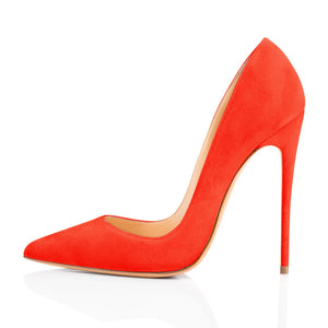 Orange Suede Pointed Toe Basic Pumps