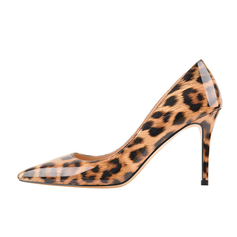 8cm Heel Leopard Patent Leather Pointed Toe High Heel Pumps