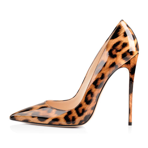 Leopard Pointed Toe Slip On Stiletto High Heel Pumps
