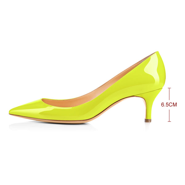 Yellow Patent Leather Pointed Toe Slip On 2.5inches(6.5CM) High Heel Pumps