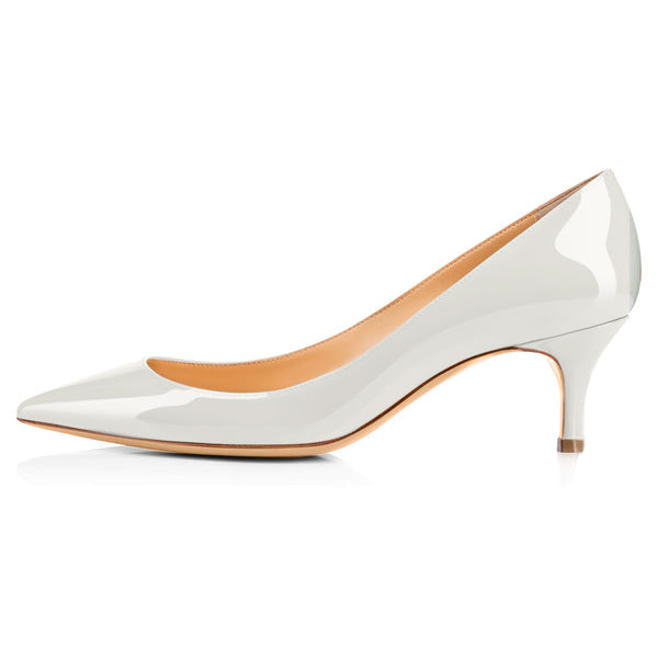 White Patent Leather Pointed Toe Slip On 2.5inches(6.5CM) High Heel Pumps