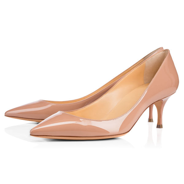Baby Pink Pointed Toe Slip On 2.5inches(6.5CM) High Heel Pumps