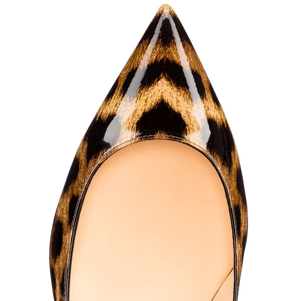 Leopard Pointed Toe Slip On 2.5inches(6.5CM) High Heel Pumps