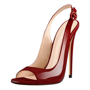 Burgundy Gradient Peep Toe Thin High Heels Slingback Sandals