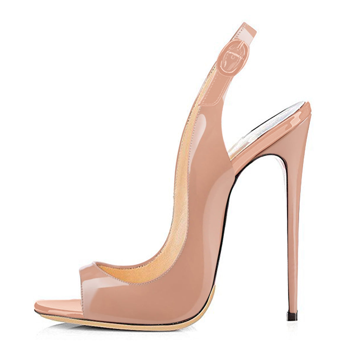 Baby Pink Peep Toe Thin High Heels Slingback Sandals