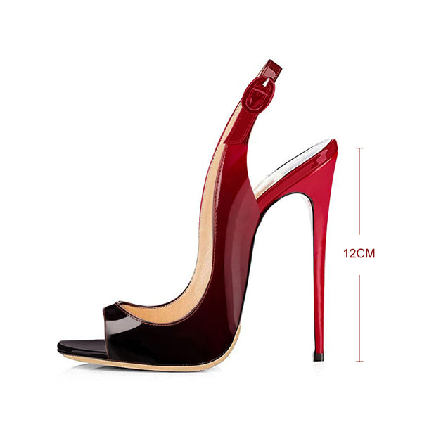 Black Red Gradient Peep Toe Thin High Heels Slingback Sandals