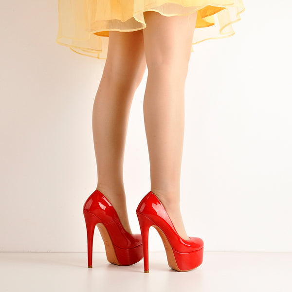 Patent Leather Rounde Toe Platform Red Stiletto High Heels Pumps