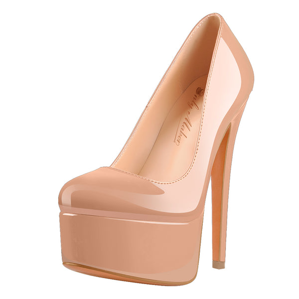 Patent Leather Rounde Toe Platform Baby Pink Stiletto High Heels Pumps
