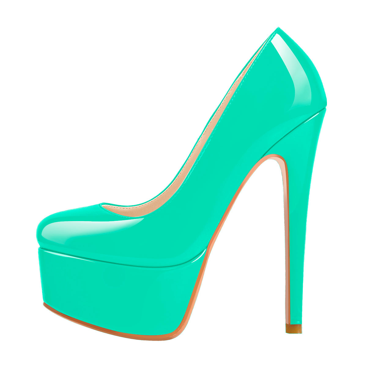 Patent Leather Rounde Toe Platform Green Stiletto High Heels Pumps