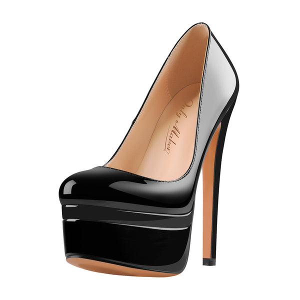 Black Patent Leather Round Toe Double Platform High Heel Pumps