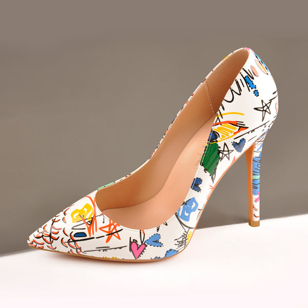 Graffiti Colorful Stiletto Pointed Toe 12cm High Heels Pumps