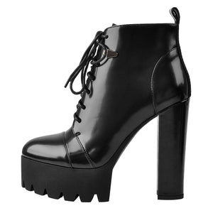 Black Platform Chunky Heels Ankle Boots