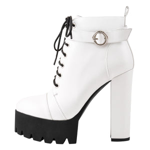 White Platform Chunky Heels Ankle Boots