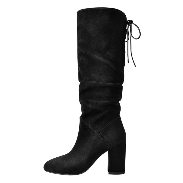 Black Suede Round Toe Chunky Heels Boots